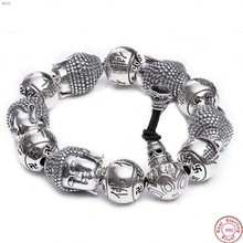 BOCAI Buddha S999 reinem Silber Armband Aus Reinem silber armband mann Thai silber männer Buddha perlen Armband Silber Armband für männer