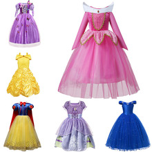 Holiday Trip Princess Dress up for Girls Aurora Costume Belle Cosplay Snow White Disguise Sofia Cinderella Ariel Party Clothing 1 6 29cm rapunzel doll sofia snow white ariel merida cinderella aurora belle dolls for girls toy page 2