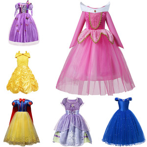 Holiday Trip Princess Dress up for Girls Aurora Costume Belle Cosplay Snow White Disguise Sofia Cinderella Ariel Party Clothing(China)