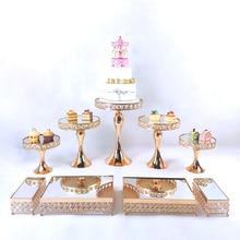 3-11pcs Crystal Cake Stand Set Metal mirror Cupcake stand decorations  Dessert Pedestal wedding Party Display cake tray