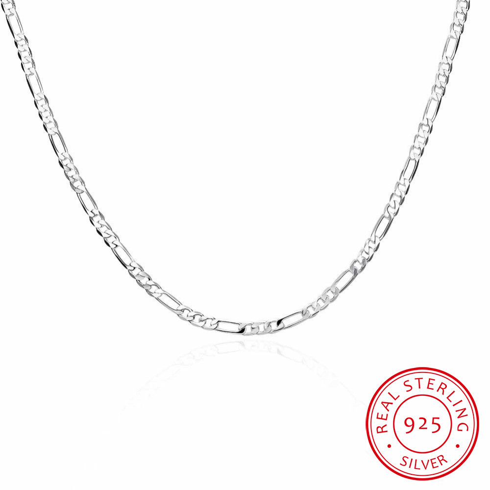 8 Sizes Available Real 925 Sterling Silver 4mm Figaro Chain Necklace Womens Mens Kids 40/45/50/60/75cm Jewelry Kolye Collares(China)