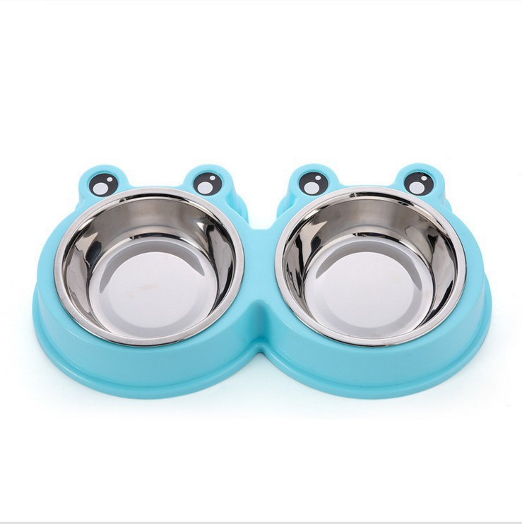 Pet Double Bowl Dog Stainless Steel Bowl Cat Gou Shi Pen Big Eyes Frog Stainless Steel Pet Double Bowl Pet Doggie Bowl