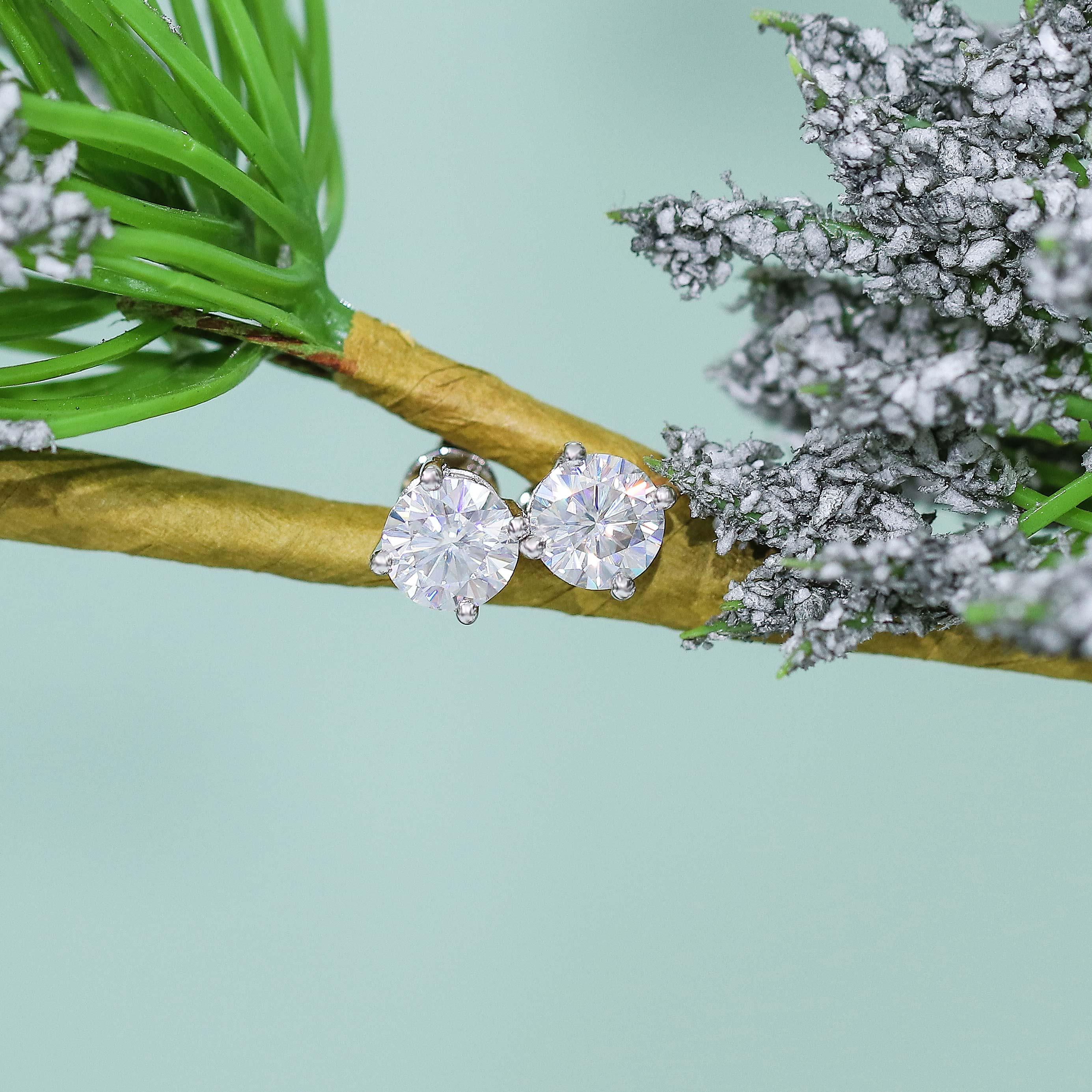 DovEggs 14K or blanc Post F couleur 1.6CTW 6MM laboratoire cultivé Moissanite solide argent Stud boucle d'oreille repousser pour les femmes - 2