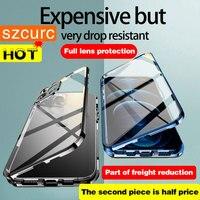 Funda para iPhone 11 Pro MAX Funda de protección completa de 360 °, funda de teléfono de vidrio y Metal de adsorción magnética, iPhone 13 12Mini XR X XS MAX