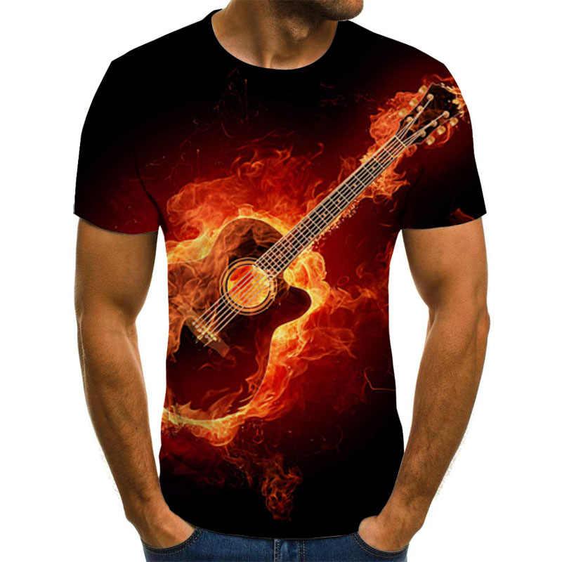 2019 casual Abbigliamento 3d pittura T Degli Uomini Della Camicia T-Shirt Chitarra Rock Stampa Estate Felice migliore Festival di Musica T-Shirt Top Tee formato 5XL