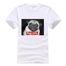 Hot Sale 100% cotton funny Pug Life T Shirt Gangsta Dog Anim