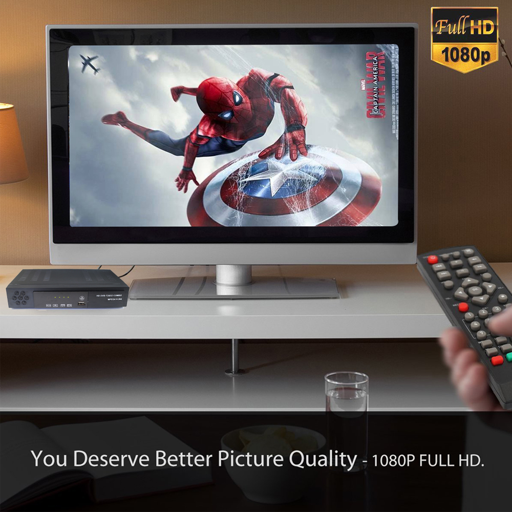 Image 5 - DVB T2 DVB S2 HD Digital Terrestrial Satellite TV Receiver Combo DVB S2 H.264 MPEG 4 TV Tuner Support CCCAM Bisskey Set top box-in Satellite TV Receiver from Consumer Electronics