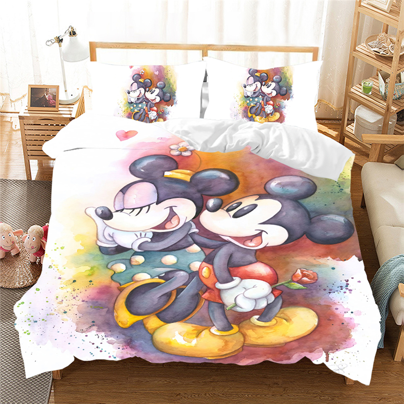US $27.74 25% OFF|Minnie Mickey Mouse Bedding Set Single Twin Queen King  Size Bed Set Children Duvet Cover Set Pillow King Size Bedding Set on ...