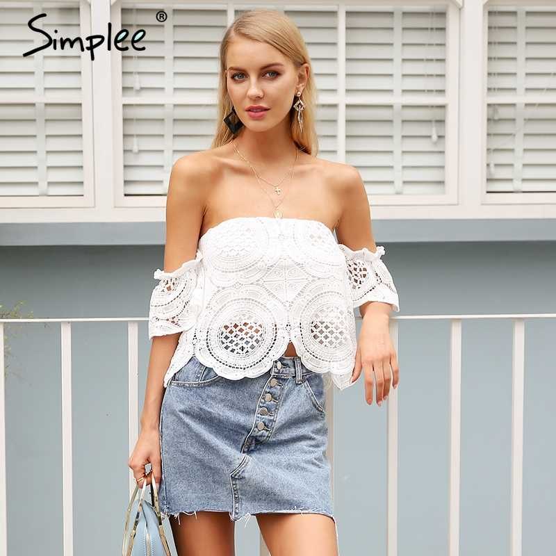 Simplee Off shoulder sexy lace crop top women Hollow out white blouse shirt  2018 Elegant flare sleeve camis summer beach tank