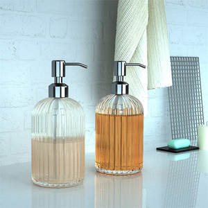 Bottle Soap-Dispenser Containers-Press Hand-Sanitizer Glass Bathroom Clear 18oz Manual