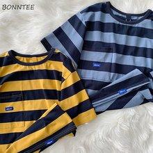 Manches courtes T-shirts femmes loisirs Design Ins rayé poches élégant populaire tout-match adolescents Harajuku t-shirt vêtements en vrac nouvellement
