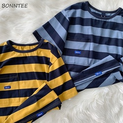 Short Sleeve T-shirts Women Leisure Design Ins Striped Pockets Stylish Popular All-match Teens Harajuku Tee Clothing Loose Newly