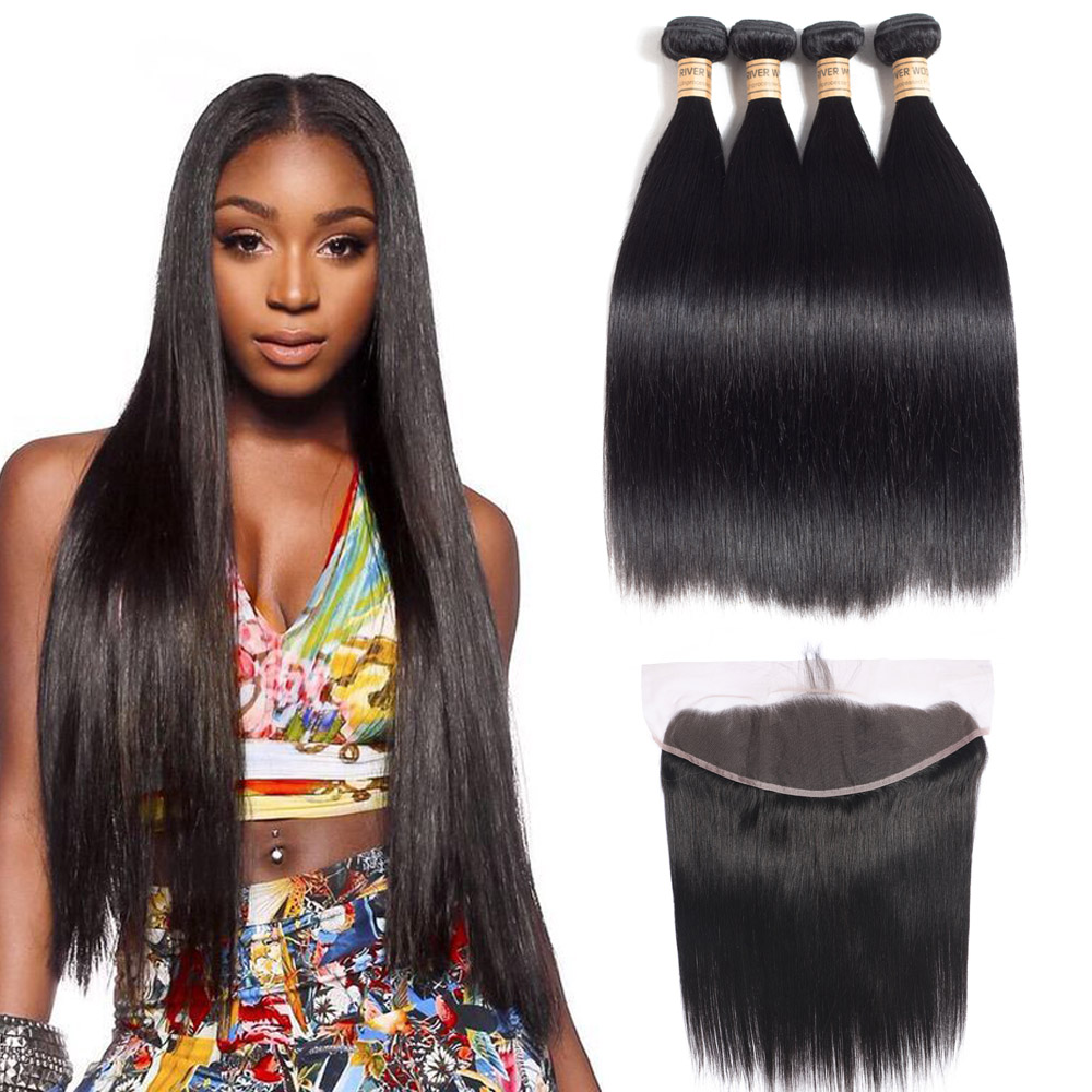 4 Bundles Remy Hair With Frontal Peruvian Straight Human Hair With  Closure 13X4 Frontal Cheap Peruvian Hair 5 Pcs/lot Fast Ship