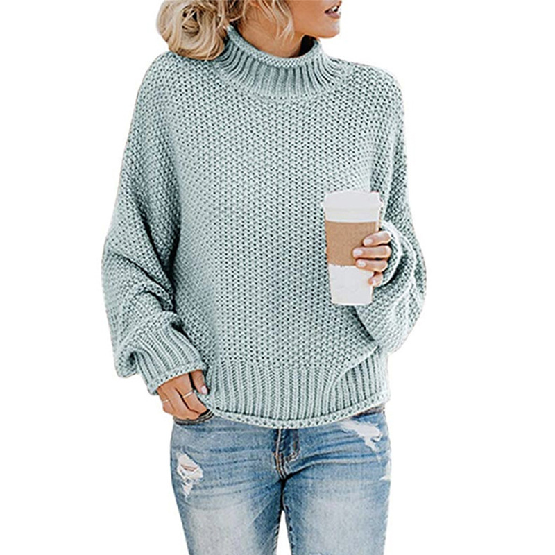 Turtleneck Women Pullover Sweater Autumn Winter Clothes Women Jumper 2019 Oversized Knitted Christmas Sweaters Ladies Tops DR889
