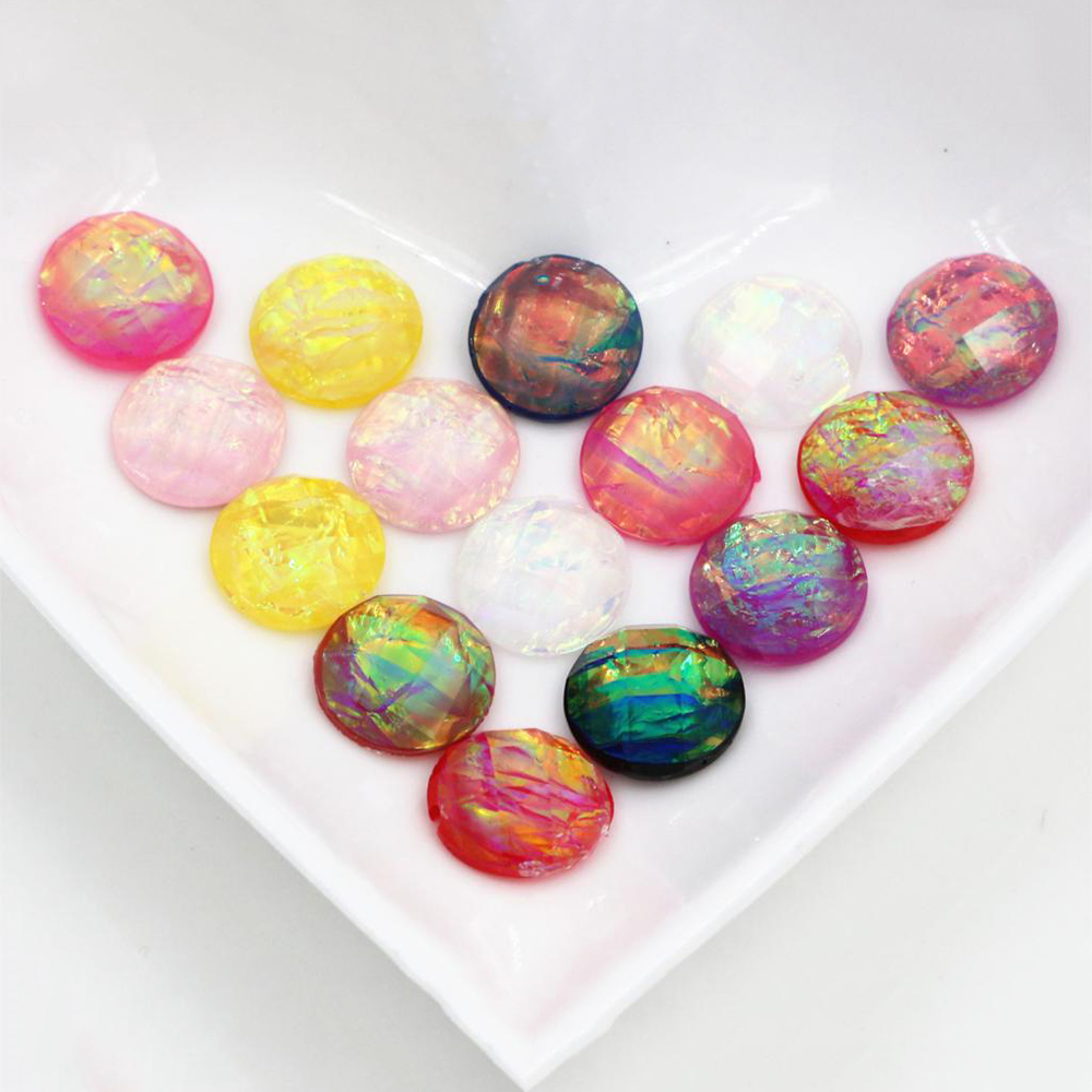 New Fashion 40pcs 12mm Mix Colors Built-in Metal Foil Flat Back Resin Cabochons Cameo
