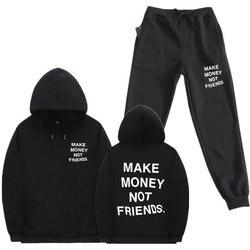Уличная одежда для мужчин; Комплект из 2 предметов; Толстовки с капюшоном с надписью «MAKE MONEY NOT FRIENDS»; Флисовая толстовка с капюшоном; Брюки дл...
