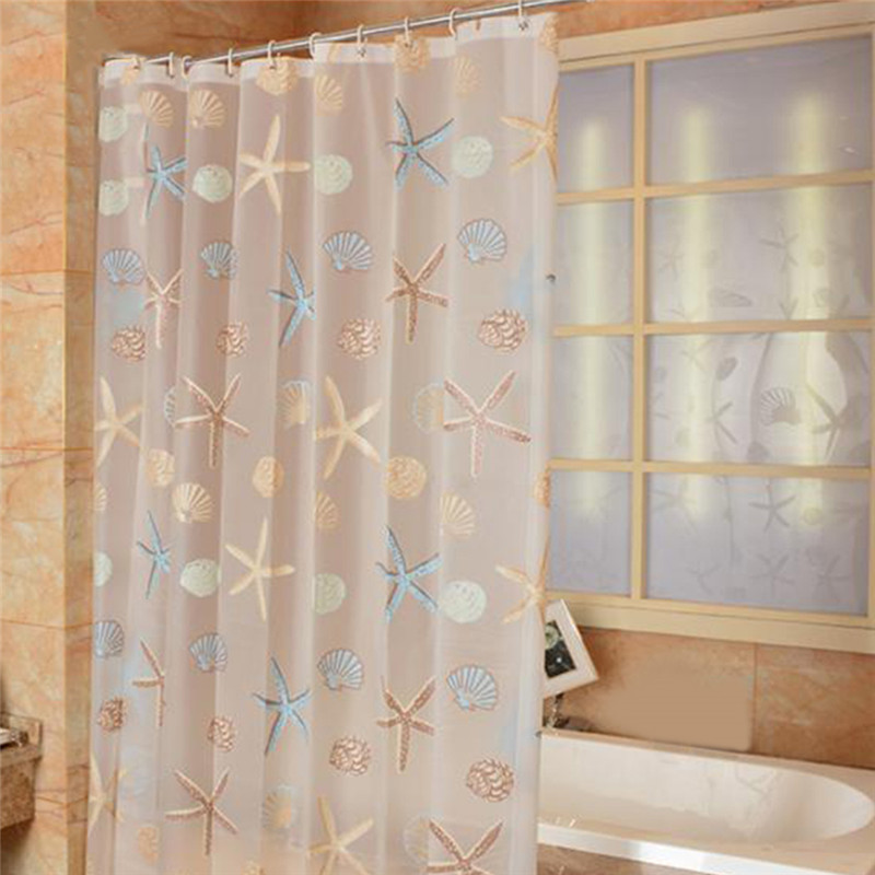 Modern Shower Curtain Starfish Partition Waterproof Mildew PEVA Curtain For Bathroom Shower Room Accessories Fresh Seaside Style