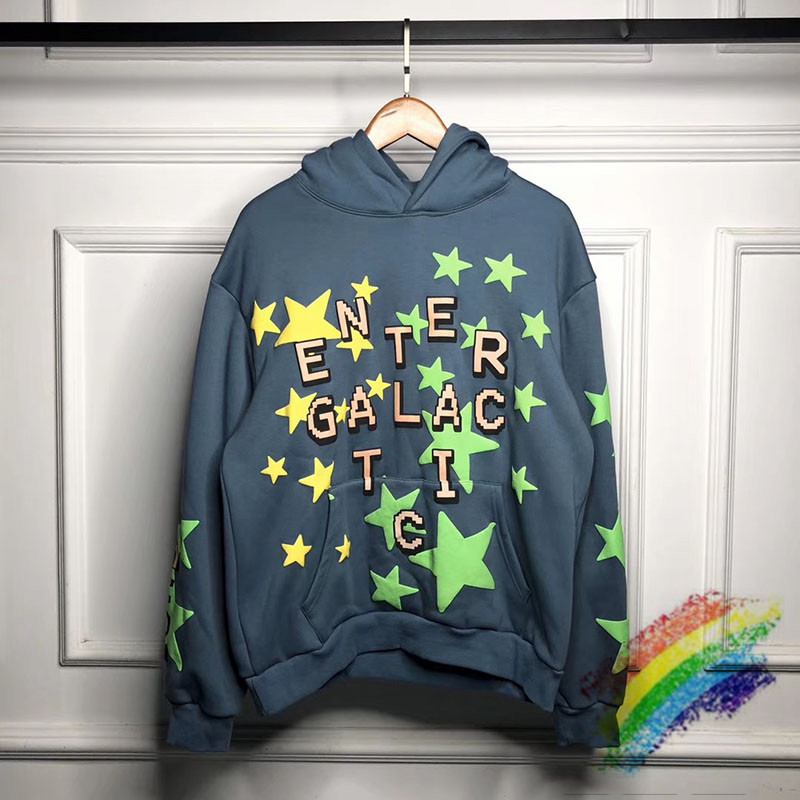 3M Reflective Plant Flea Market Kid Cudi Enter Galactic Hoodie Hooded 1:1 Best-Quality Fluorescent Green Stars CPFM.XYZ Pullover