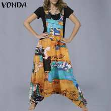 Women Jumpsuist Casual Sleeveless Jumpsuits Rompers 2020 VONDA Casual Loose Drop Crotch Playsuits Female Overalls Pant Plus Size(China)
