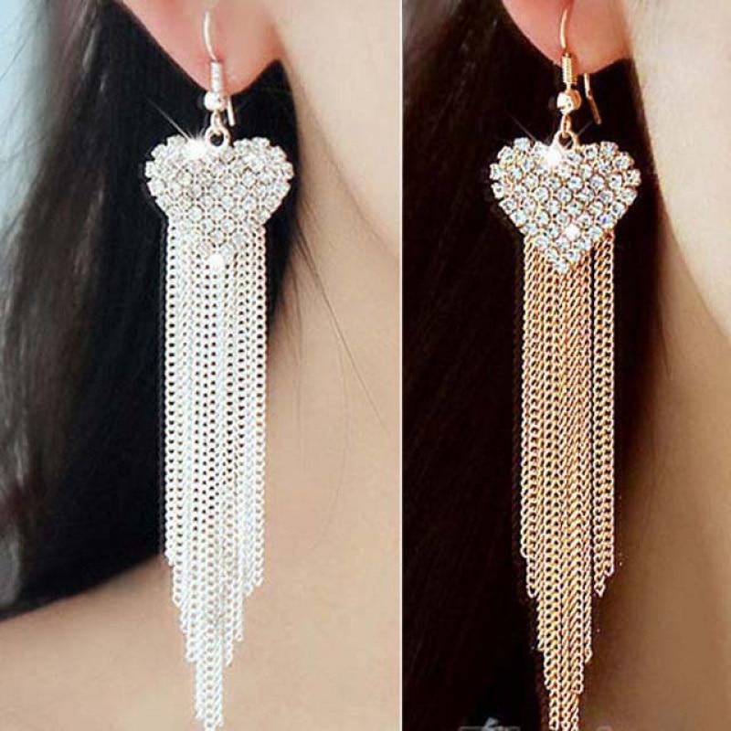 New Fashion White Crystal Heart Dangle Earrings for Women Tassel Long Bling Rhinestone Earrings Jewelry Love Wedding Bridal Gift