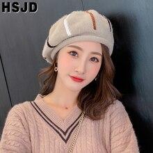 Cap Painter-Hat Beanie-Hats Berets Artist Female Stripe French Fashion Women Warm Plush