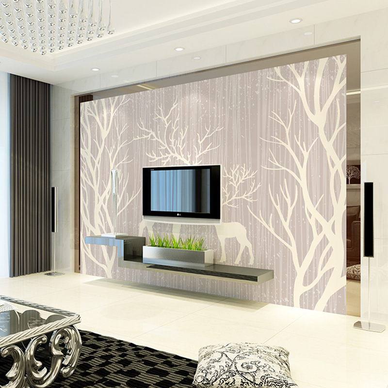 Large Wallpaper Mural Modern Living Room Television Sofa TV Background Cartoon Deer Forest Seamless Cool Wallpaper
