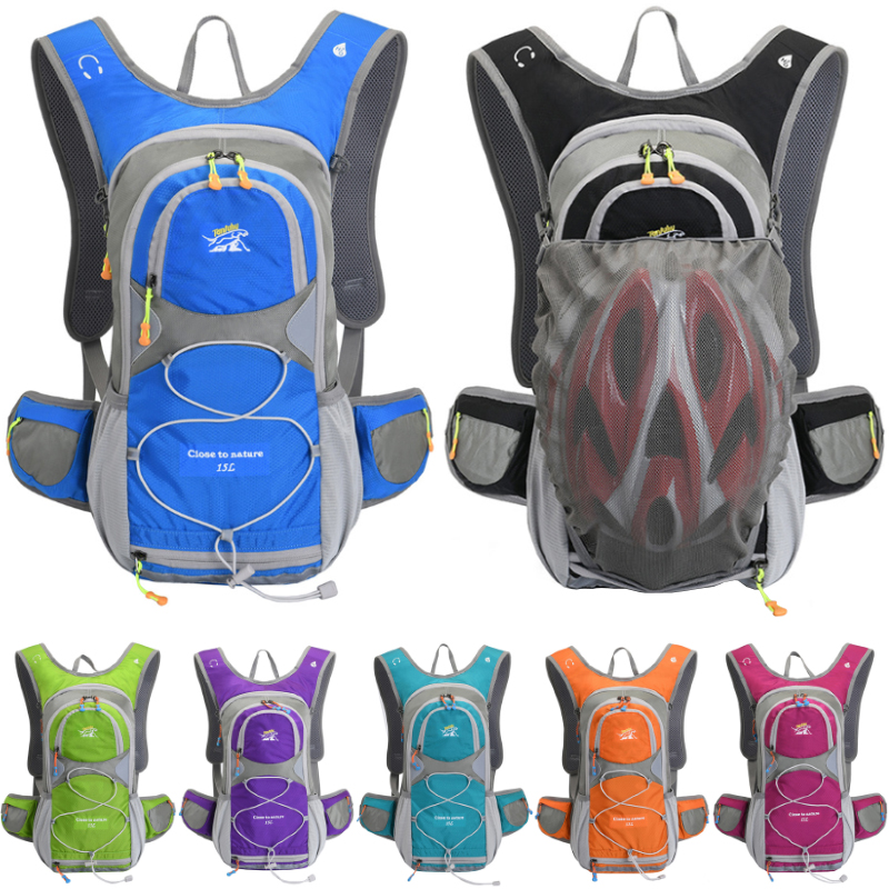 15L Outdoor Sports Cycling Camping Backpack Hiking Running Bike Riding Hydration Water Bag Pack Bladder Knapsack with Helmet Net