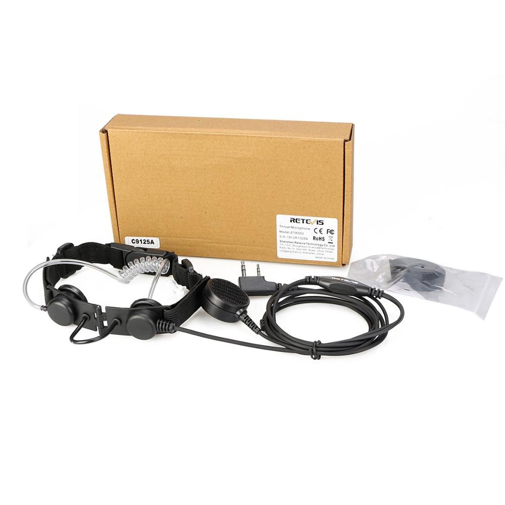 New ETK003 2 Pin Throat Control Laryngeal Shock Headset with Finger PTT -  Outdoors Walkie Talkie Radio Headsets