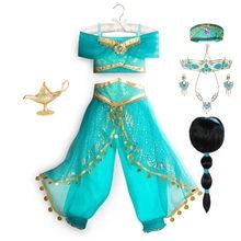 Vestido de princesa de Disney Jasmine para niñas, lámpara mágica de Aladino, fiesta de cumpleaños, Cosplay, Top + Pantalones + diadema, ropa de Carnaval