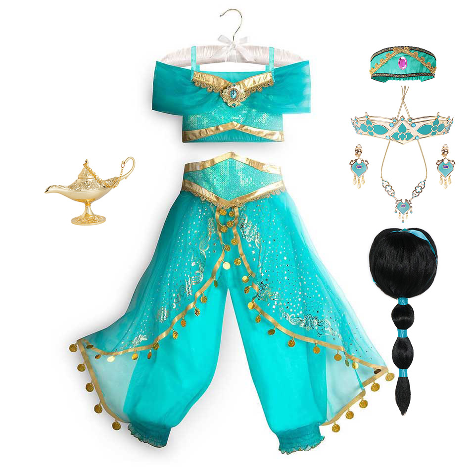 アラジンと魔法のランプのプリンセスドレスアップ誕生日パーティージャスミンコスプレ衣装トップ + パンツ + ヘッドバンド2 4 6 8 10 12Yrs