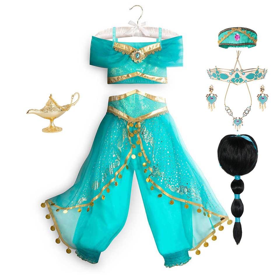 Vestido de princesa de Aladdín y la lámpara mágica para niñas, fiesta de cumpleaños, disfraz de Jasmine, Top + Pantalones + diadema 2 4 6 8 10 12 años