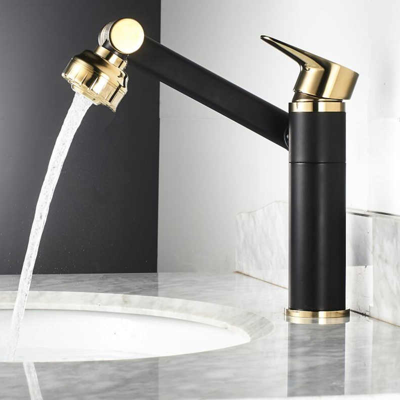 360 Swivel Arm Basin Faucet Bathroom gold handle Black body Faucet Painting Finish Basin Sink Tap Mixer Hot & Cold Water Faucet