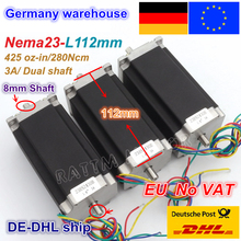 цена на DE ship free VAT 3pcs NEMA23 stepper motor 57 type 425Oz-in 280N.cm Dual shaft stepping motor/3A for CNC Router Engraving Mill
