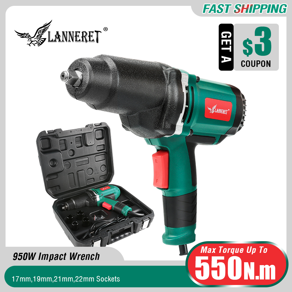 LANNERET 950W Electric Impact Wrench 450 550Nm Max Torque 1 2 inch Car Socket Household Professional