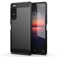 Protective black case for Sony Xperia 1 II 2020, carbon series from caseport