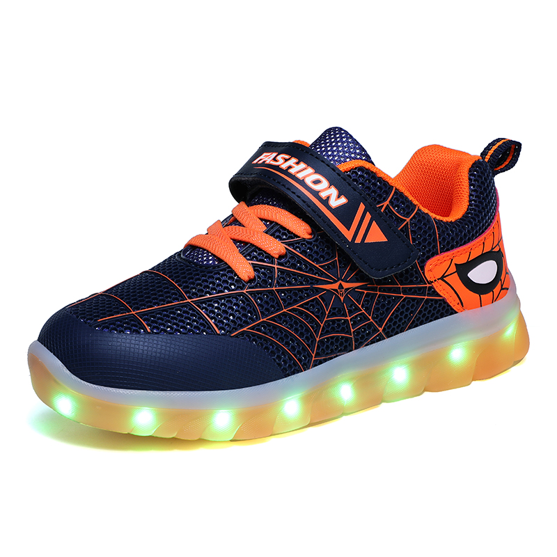 New Children's LED Shoes Breathable Sneakers Boys/girls USB Charging Shoes Casual Kids Glowing Shoes Women Shoes Euro Size 25-37