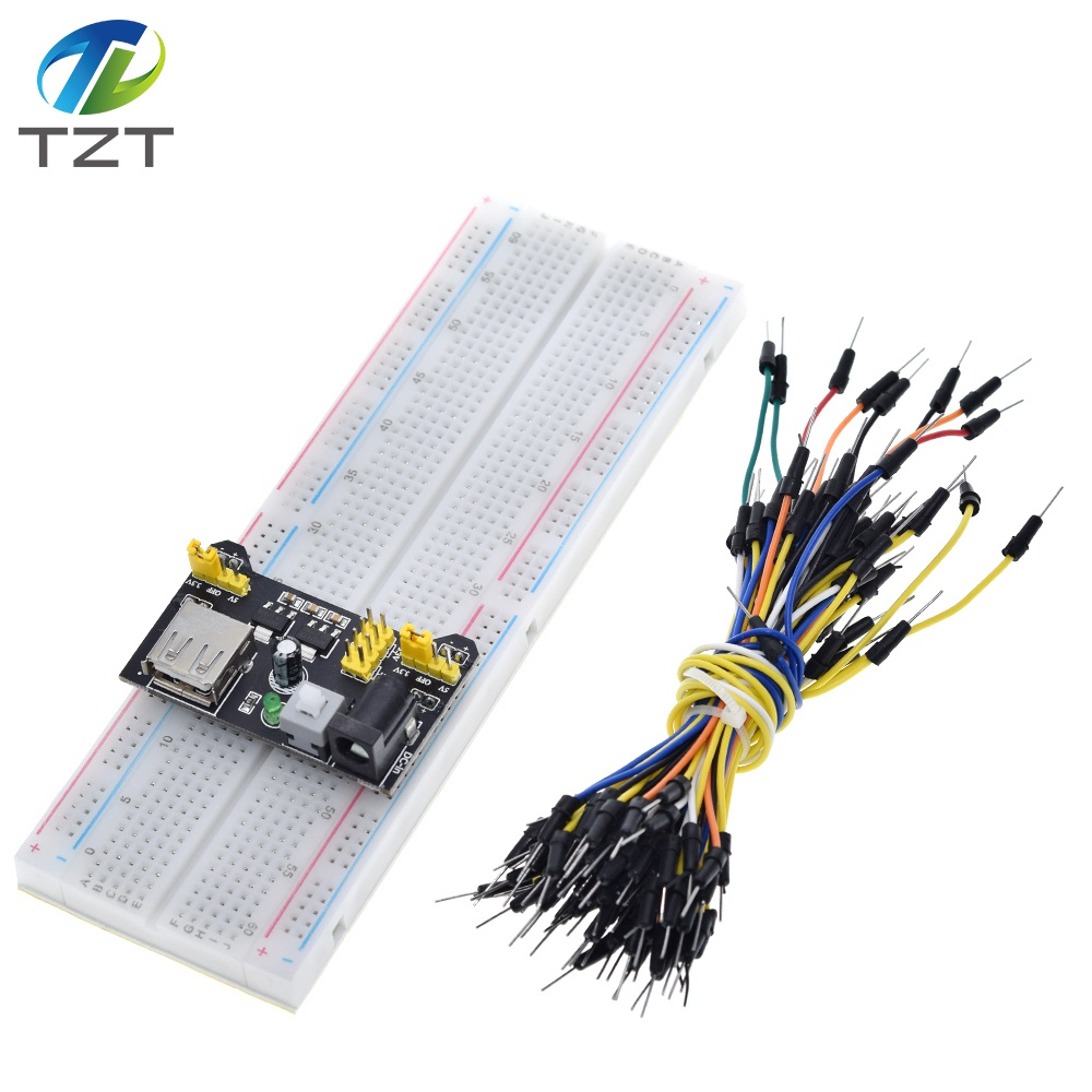 TZT MB102 Breadboard Power Module+MB 102 830 Points Solderless Prototype Bread Board kit +65 Flexible Jumper Wires-in Integrated Circuits from Electronic Components & Supplies