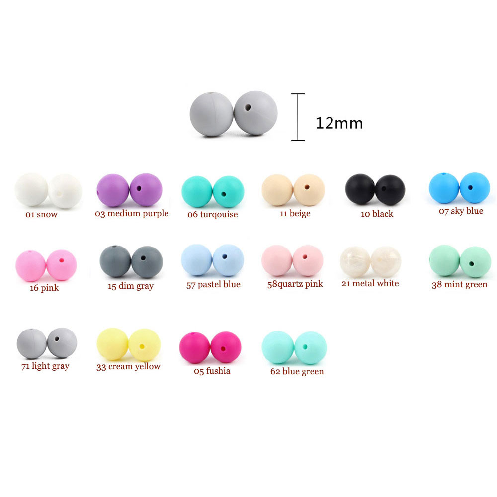 1000Pcs 12mm Silicone Beads Round Baby Teether Bead BPA Free Teething Necklace Pacifier Chain Bead Tiny Rod Baby Products Toy