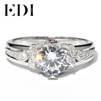 EDI Unique Ruby 14K White Gold Ring Moissanites 1CT Round Cut Diamond Customized Wedding Rings For Women Bands