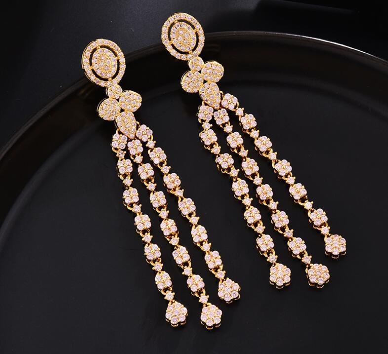 Women Luxury Vintage Court Style Earrings Zircon Long Fringed Temperament Ear Jewelry