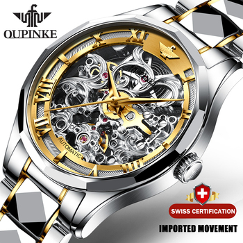 цена на OUPINKE Top Brand Luxury Men Automatic Mechanical Watch Skeleton Tungsten Steel Waterproof Self-Wind Sapphire Glass Wristwatch