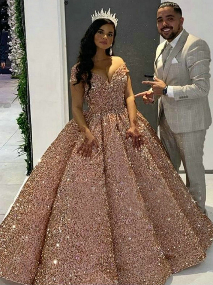 Ball-Gown Formal-Dress Evening-Dresses Sequined Long Off-Shoulder Pink Sparkly Sweetheart