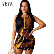 YEYA Casual Print Pleated Dress Summer Sexy Sleeveless Hollow Out Bodycon Mini Female Vintage Party Dresses Plus Size XXL