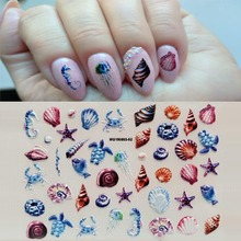 1PC 3D Acrylic Engraved  Shell Turtle Nail Sticker Embossed Love Flower Water Decals Empaistic Slide