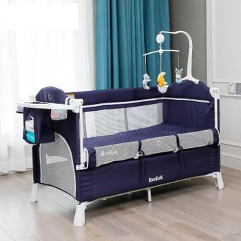 Portable Baby Bed with Diaper Table Multifunctional Newborn Bed Kids Cradle Rocker Baby Crib for 0-6 years Old Children Bed luxury pine solid wood logs baby crib adjustable 3 in 1 stitching multifunctional storage cradle baby bed with guardrail for kid