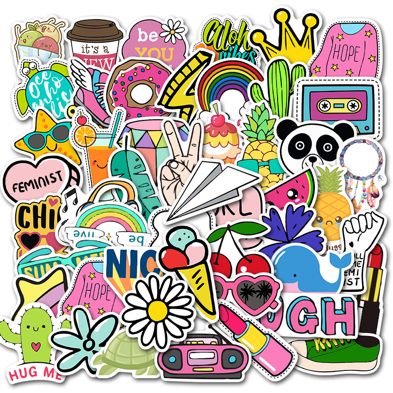 50PCS  Little Fresh Stickers Pack Pink Girl Anime Stiker For Children On The Laptop Fridge Phone Skateboard Suitcase Sticker