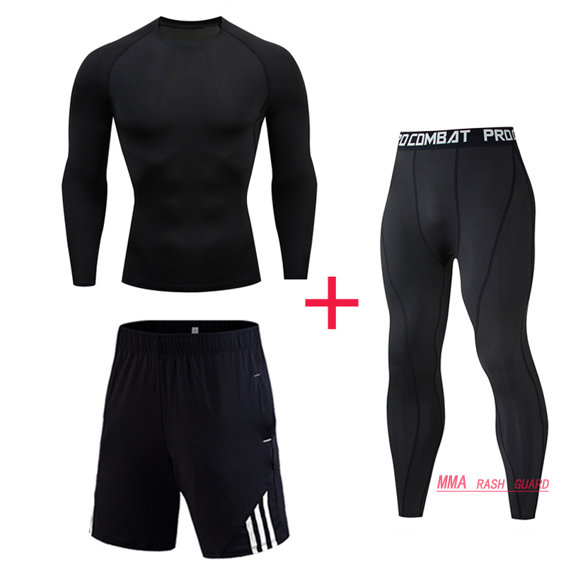 Top  Man Compression Sports Suit Quick Drying Fitness Training MMA Kit Rashguard Male Sportswear Jogging Running Clothes