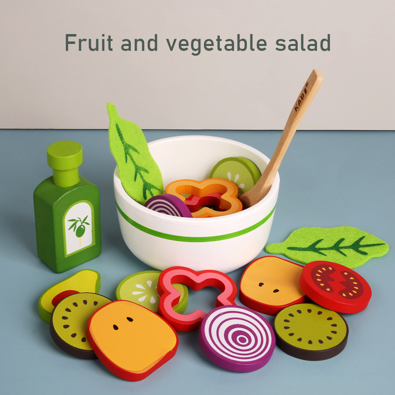 Wooden Baby Kitchen Toys Pretend Play Vegetable Salad Play Food Kids Toys Wooden Fruit Birthday Gifts Parent-child Interactive