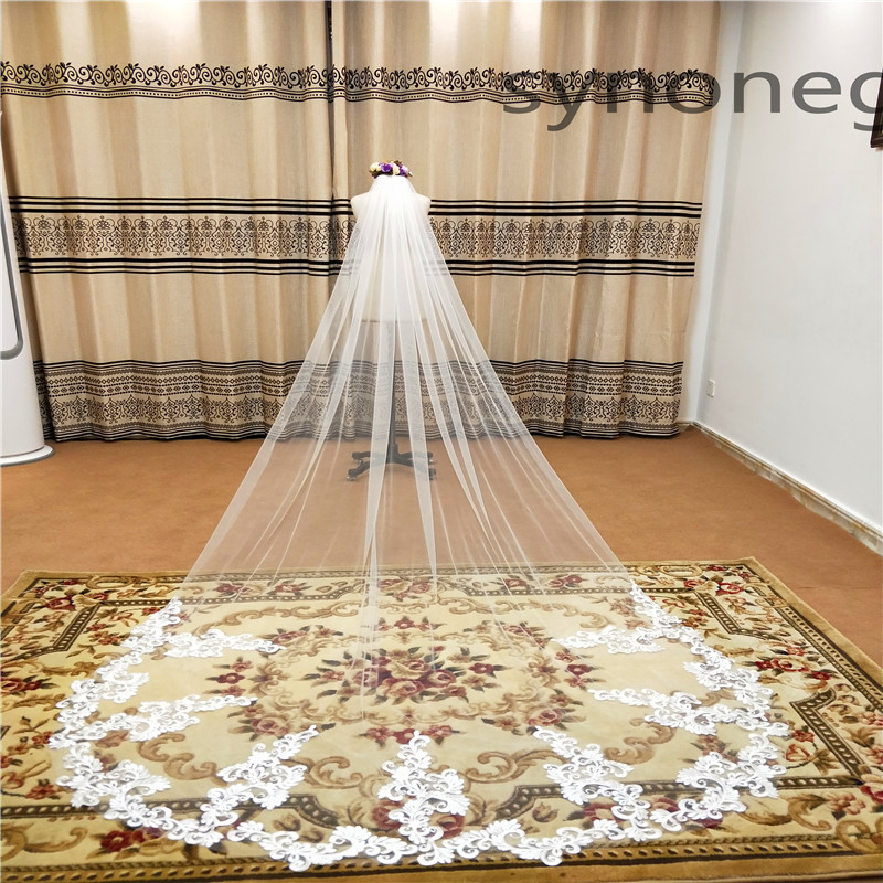 Real Photo Real Photo 3m One Layer Wedding Veil With Comb White Lace Edge Bridal Veils Ivory Cathedral Wedding Veil