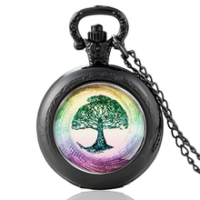 High Quality  Black Tree of Life Glass Dome Quartz Pocket Watch Vintage Men Women Necklace Pendant Gifts